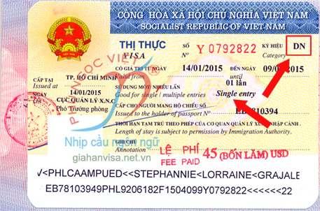 Gốc visa DN - ký hiệu thị thực DN